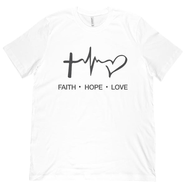 (Unisex BC 3001 Soft Tee) Faith Hope Love Heartbeat Pulse Christian Love Gospel Graphic T-Shirt Tee BOXELS