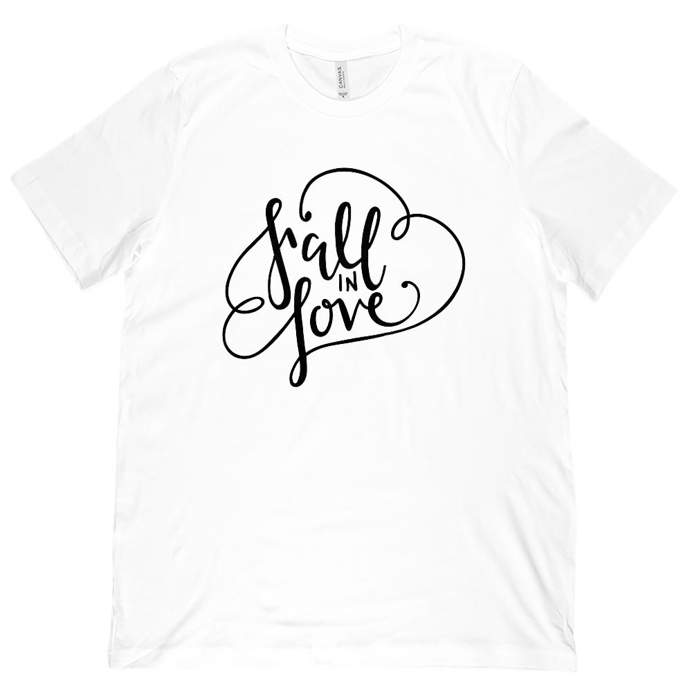 (Unisex BC 3001 Soft Tee) Fall In Love Autumn Harvest Season (black font) Graphic T-Shirt Tee BOXELS