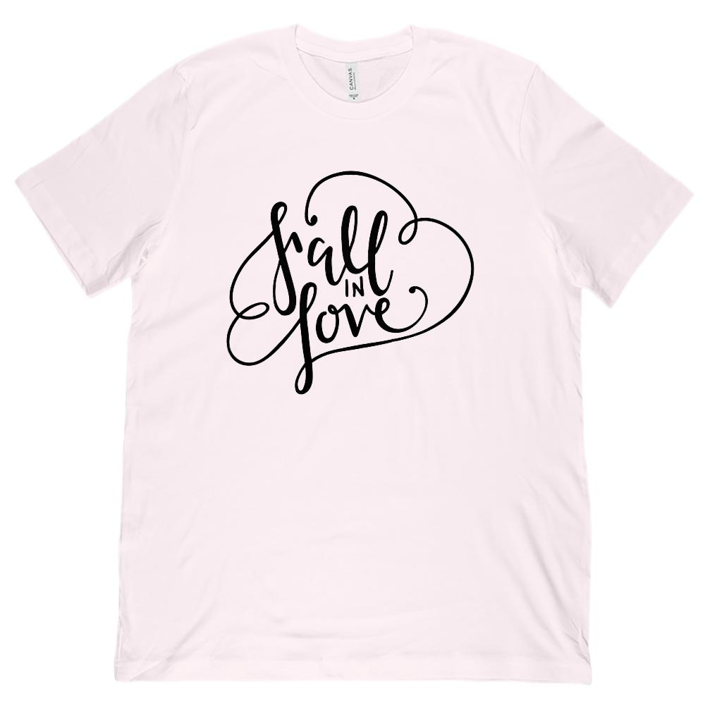 (Unisex BC 3001 Soft Tee) Fall In Love Autumn Harvest Season (black font)