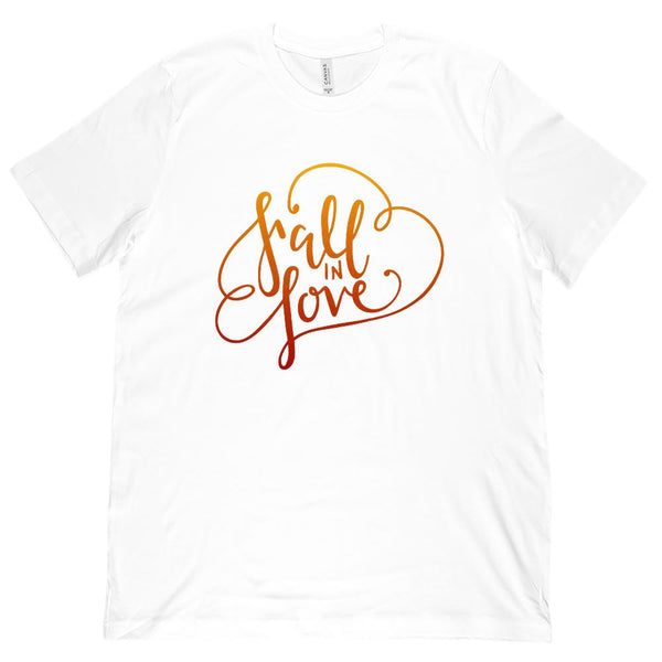 (Unisex BC 3001 Soft Tee) Fall In Love Autumn Harvest Season (Leaf Color font) Graphic T-Shirt Tee BOXELS