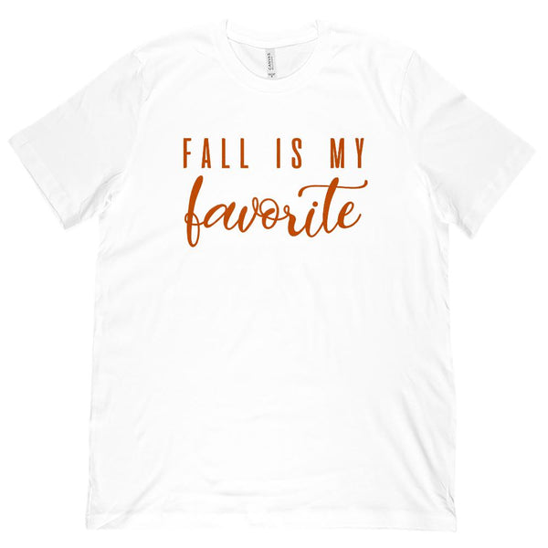 (Unisex BC 3001 Soft Tee) Fall Is My Favorite Season Autumn Harvest (spice font) Graphic T-Shirt Tee BOXELS