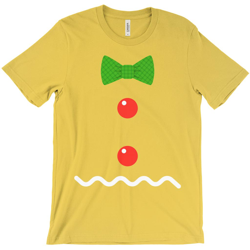 (Unisex BC 3001 Soft Tee) Gingerbread Man Chest Decorations Holiday Yum Graphic T-Shirt Tee BOXELS