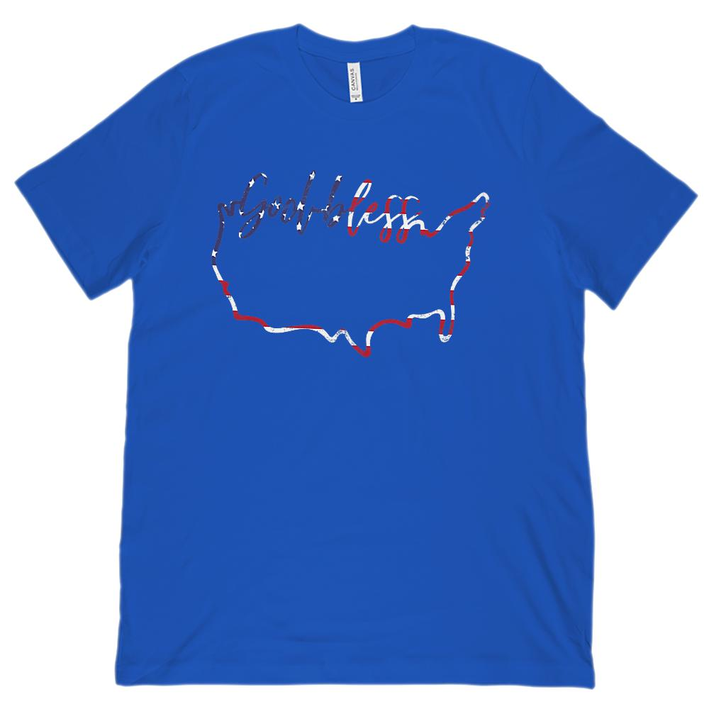 (Unisex BC 3001 Soft Tee) God Bless America Map FLAG Patriotic Tee Graphic T-Shirt Tee BOXELS