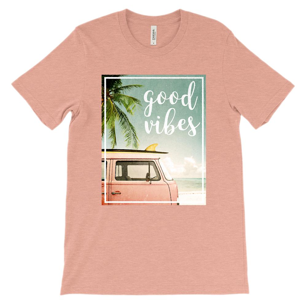 (Unisex BC 3001 Soft Tee) Good Vibes Van Beach Ocean Graphic T-Shirt Tee BOXELS