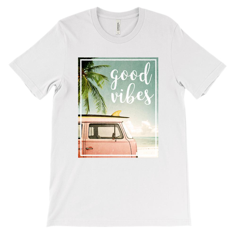 (Unisex BC 3001 Soft Tee) Good Vibes Van Beach Ocean