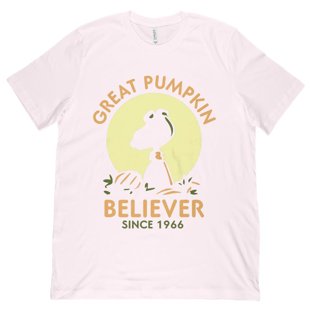 (Unisex BC 3001 Soft Tee) Great Pumpkin Believer Since 1966 Silhouette Graphic T-Shirt Tee BOXELS