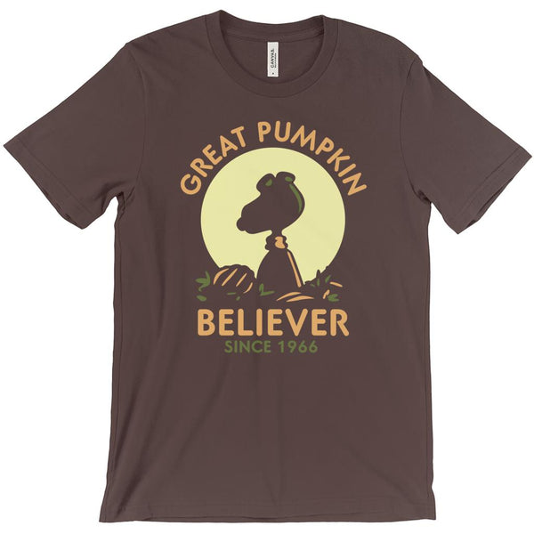 (Unisex BC 3001 Soft Tee) Great Pumpkin Believer Since 1966 Silhouette (other Tee Colors) Graphic T-Shirt Tee BOXELS