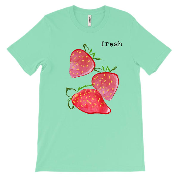 (Unisex BC 3001 Soft Tee - Greens) Fresh Strawberries Graphic T-Shirt Tee BOXELS