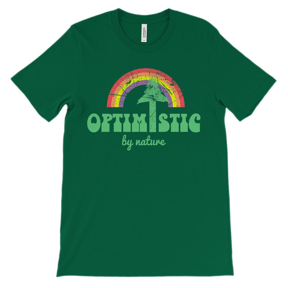 (Unisex BC 3001 Soft Tee Greens) Optimistic By Nature Tree Rainbow Graphic T-Shirt Tee BOXELS