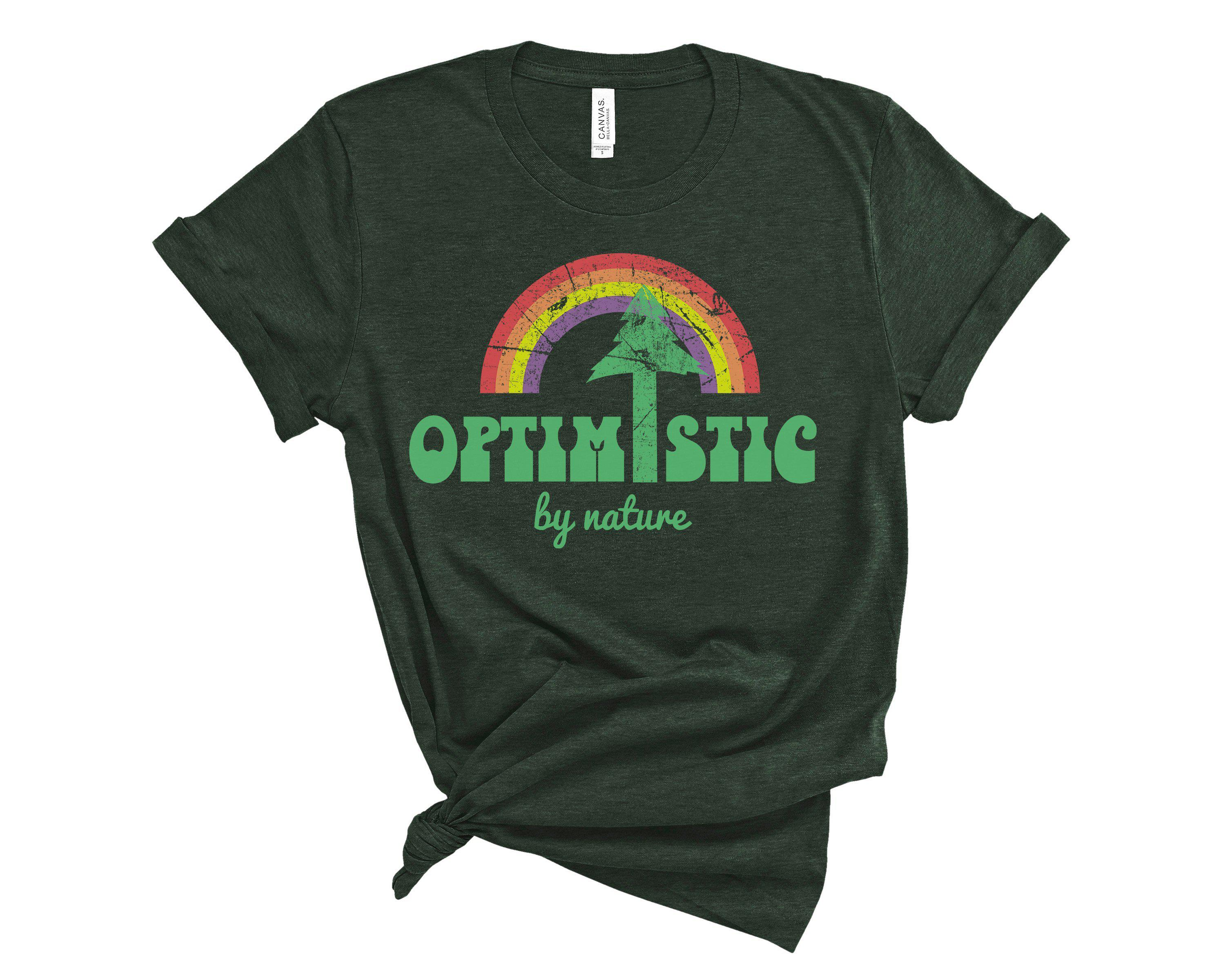 (Unisex BC 3001 Soft Tee Greens) Optimistic By Nature Tree Rainbow