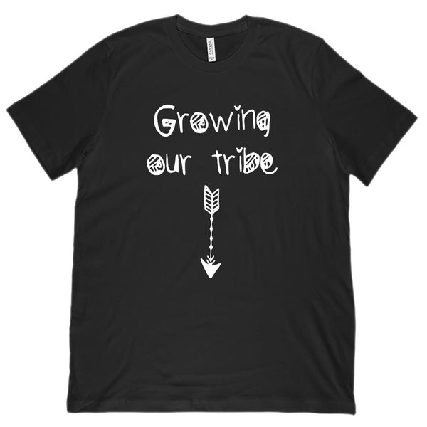 (Unisex BC 3001 Soft Tee) Growing Our Tribe Arrow Pregnancy Announcement (white) Graphic T-Shirt Tee BOXELS