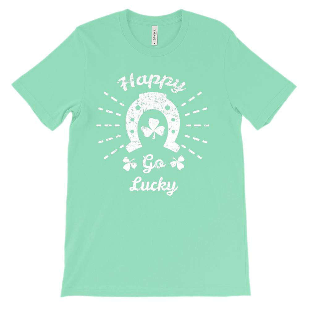 (Unisex BC 3001 Soft Tee) Happy Go Lucky Clover Horseshoe (white) Graphic T-Shirt Tee BOXELS