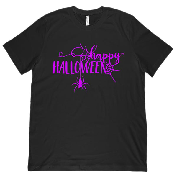 (Unisex BC 3001 Soft Tee) Happy Halloween Spider Graphic (purple font) Graphic T-Shirt Tee BOXELS