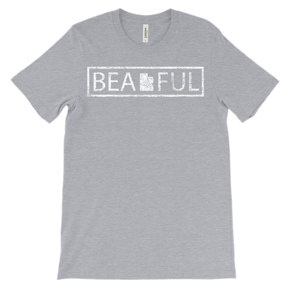 (Unisex BC 3001 Soft Tee - Heathered Colors) BeaUTAHful Utah Beautiful Graphic T-Shirt Tee BOXELS