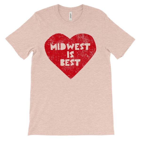 (Unisex BC 3001 Soft Tee - heathered) Iconic State Scenery Midwest is Best Graphic T-Shirt Tee BOXELS