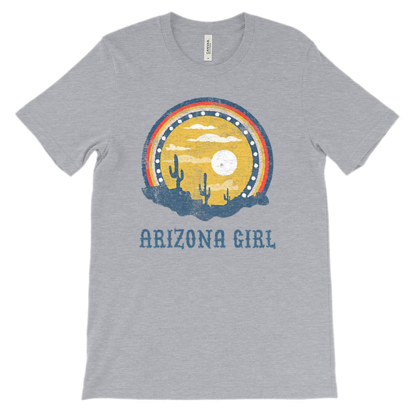 (Unisex BC 3001 Soft Tee Heathers) Iconic State Scenery - Arizona Girl AZ Graphic T-Shirt Tee BOXELS