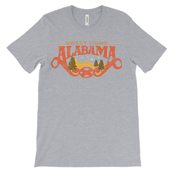 (Unisex BC 3001 Soft Tee - Heathers) Iconic State - Sweet home Alabama AL Graphic T-Shirt Tee BOXELS
