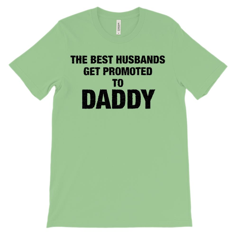 (Unisex BC 3001 Soft Tee - heathers) The Best Husbands Get Promoted to Daddy Graphic T-Shirt Tee BOXELS
