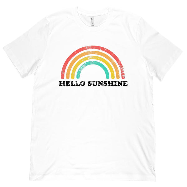 (Unisex BC 3001 Soft Tee) Hello Sunshine Retro Vintage Rainbow Graphic T-Shirt Tee BOXELS
