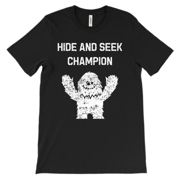 (Unisex BC 3001 Soft Tee) Hide and Seek Champion YETI Graphic T-Shirt Tee BOXELS