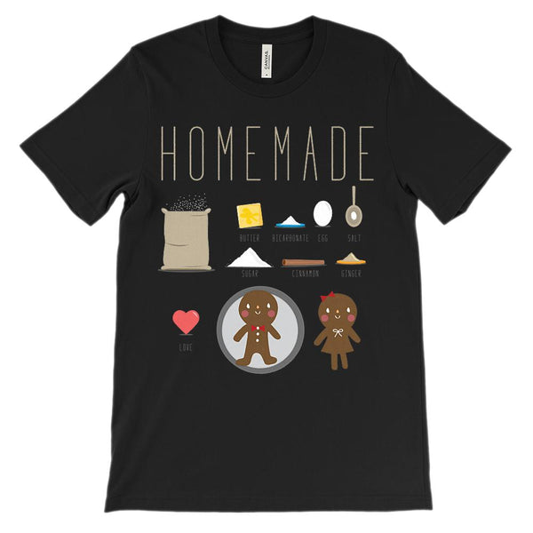 (Unisex BC 3001 Soft Tee) Homemade Gingerbread Ingredients Graphic T-Shirt Tee BOXELS