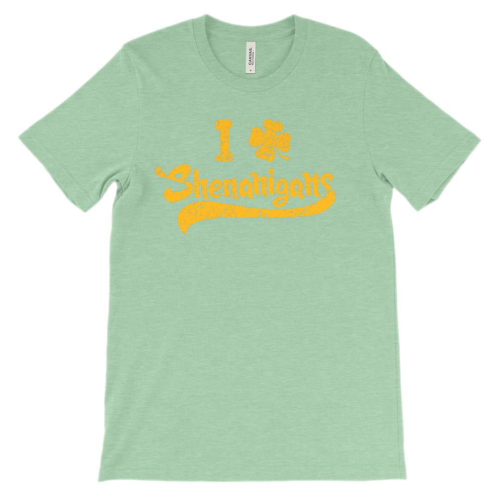 (Unisex BC 3001 Soft Tee) I Clover (Love) Gold Shenanigans Graphic T-Shirt Tee BOXELS