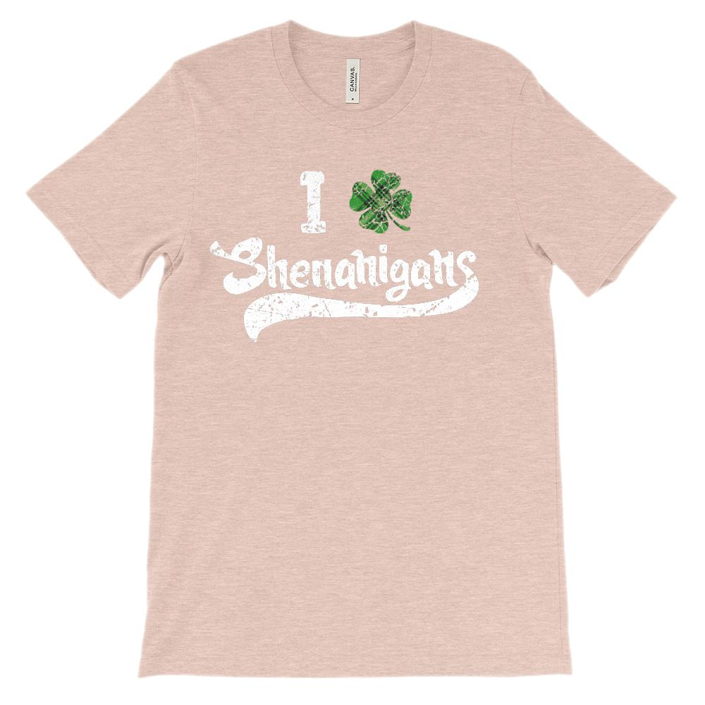 (Unisex BC 3001 Soft Tee) I Clover (Love) Plaid Shenanigans Graphic T-Shirt Tee BOXELS