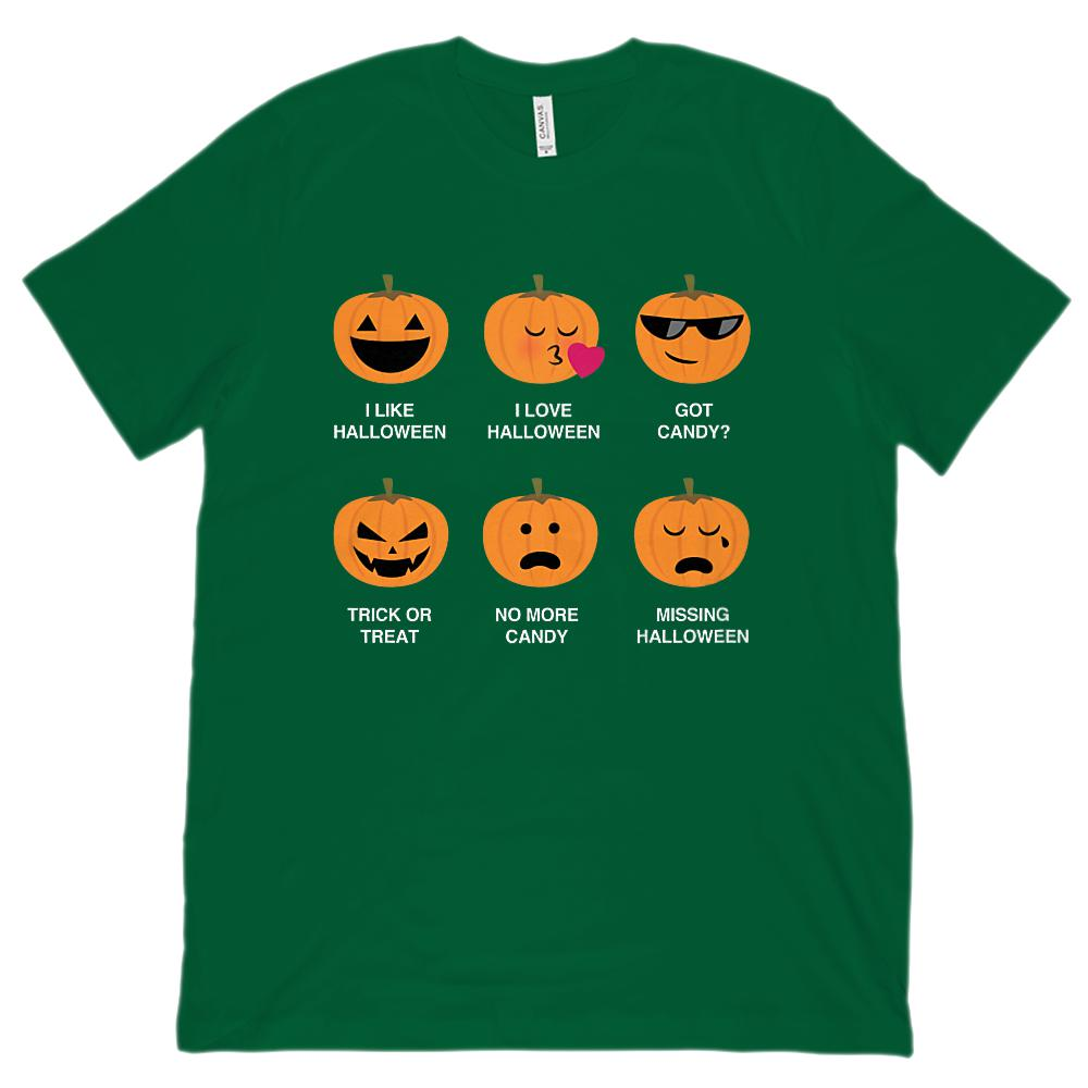 (Unisex BC 3001 Soft Tee) I Like I Love Halloween Pumpkins Emoji Emoticon Graphic T-Shirt Tee BOXELS