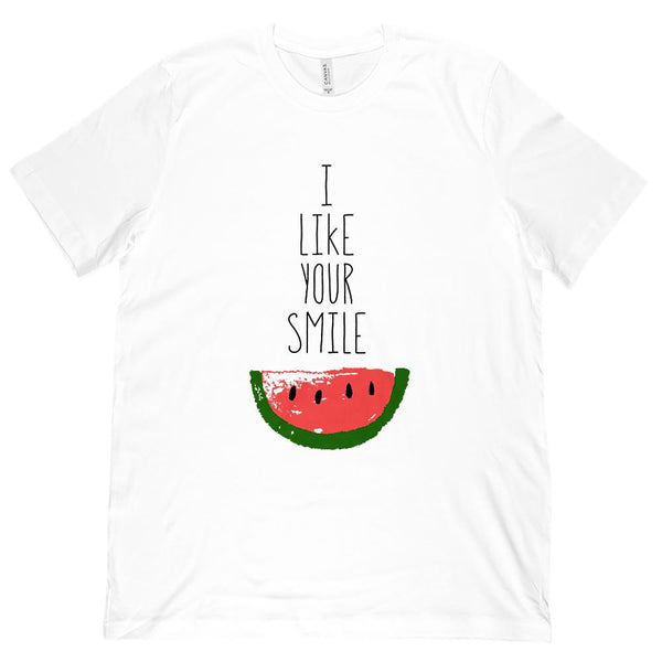 (Unisex BC 3001 Soft Tee) I Like Your Smile Watermelon (colored) Graphic T-Shirt Tee BOXELS