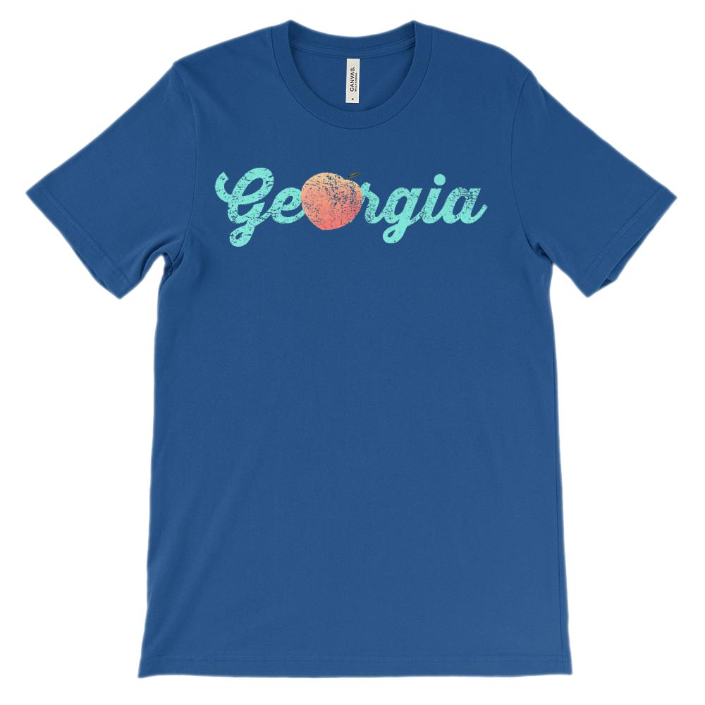 (Unisex BC 3001 Soft Tee) Iconic Georgia Peach Light Blue Graphic T-Shirt Tee BOXELS