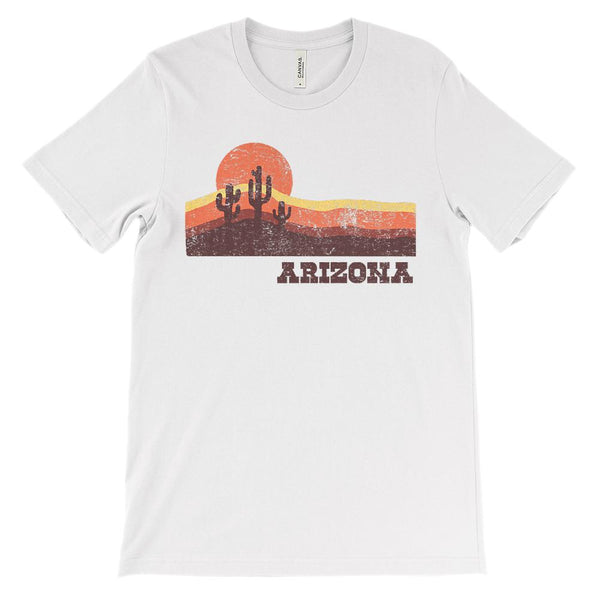 (Unisex BC 3001 Soft Tee) Iconic State Scenery Arizona Cacti Sunset Graphic T-Shirt Tee BOXELS