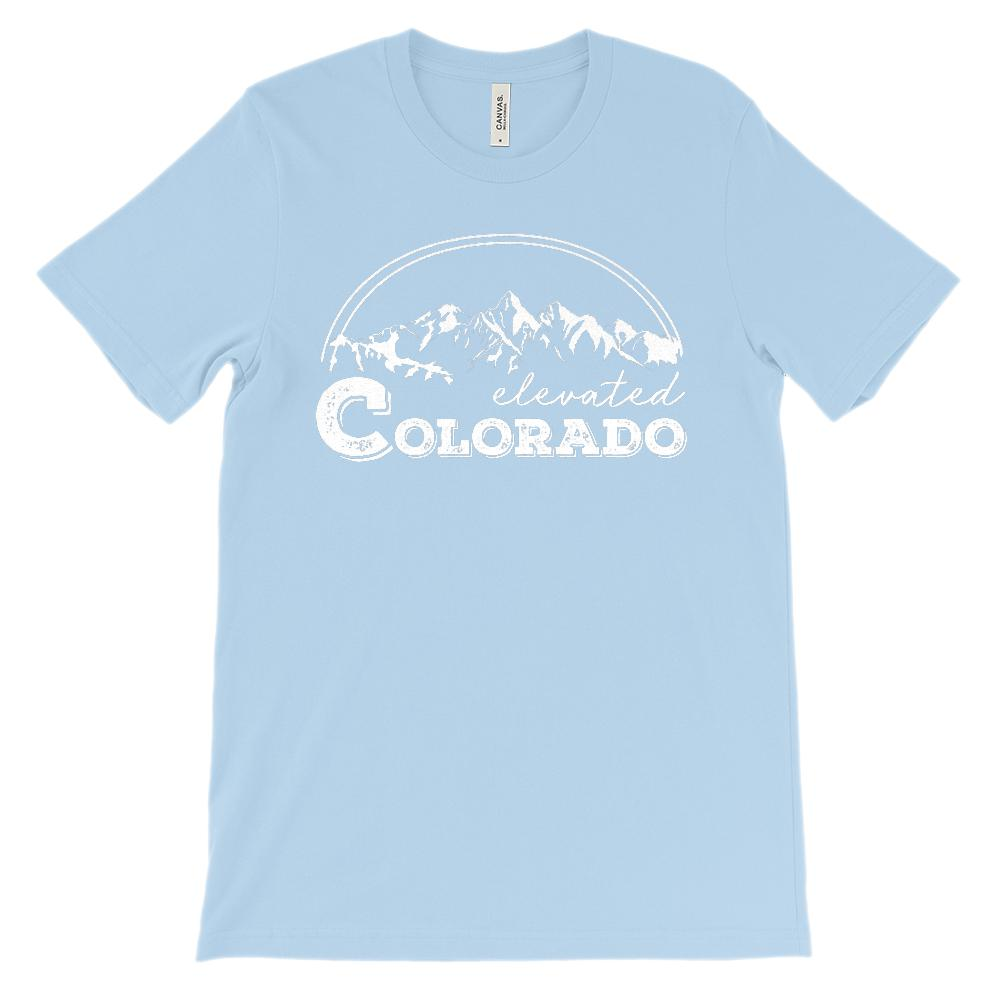 (Unisex BC 3001 Soft Tee) Iconic State Scenery - Colorado CO Elevated Mountains Graphic T-Shirt Tee BOXELS