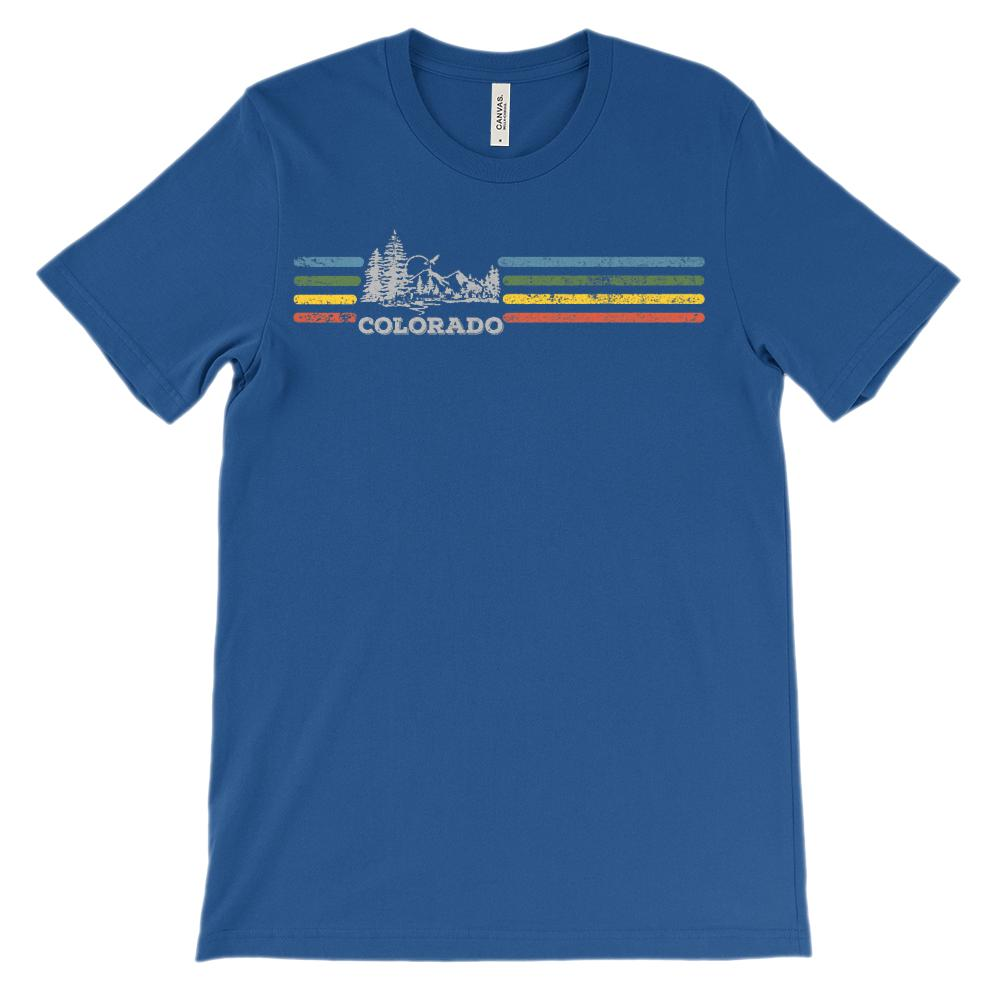 (Unisex BC 3001 Soft Tee) Iconic State Scenery Colorado Retro Rainbow Graphic T-Shirt Tee BOXELS