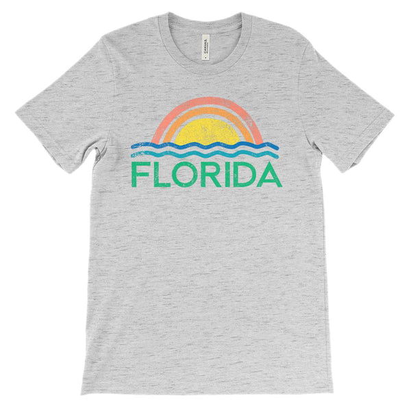 (Unisex BC 3001 Soft Tee) Iconic State Scenery Florida Ocean Sunset Graphic T-Shirt Tee BOXELS