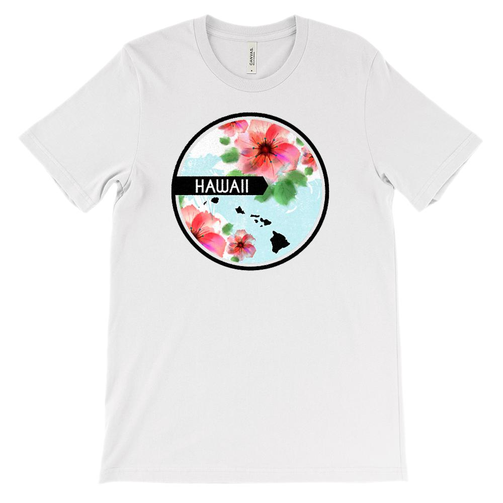(Unisex BC 3001 Soft Tee)  Iconic State Scenery - Flower Circle - Hawaii (HI)