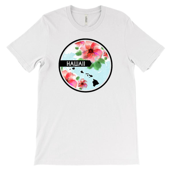 (Unisex BC 3001 Soft Tee) Iconic State Scenery - Flower Circle - Hawaii (HI) Graphic T-Shirt Tee BOXELS