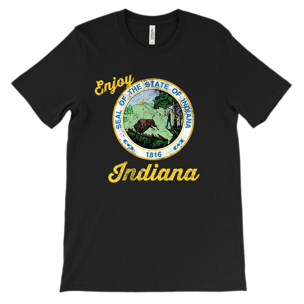 (Unisex BC 3001 Soft Tee) Iconic State Scenery Indiana Graphic T-Shirt Tee BOXELS