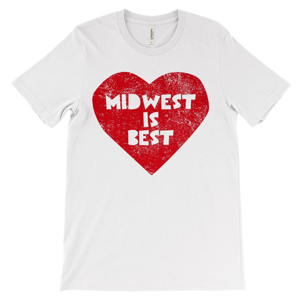 (Unisex BC 3001 Soft Tee) Iconic State Scenery - Midwest is Best Transparent Fon Graphic T-Shirt Tee BOXELS