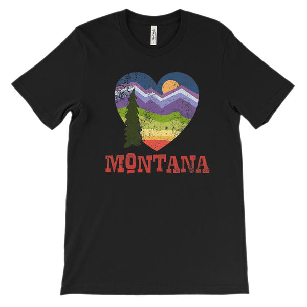 (Unisex BC 3001 Soft Tee) Iconic State Scenery - Montana Love Heart Graphic T-Shirt Tee BOXELS