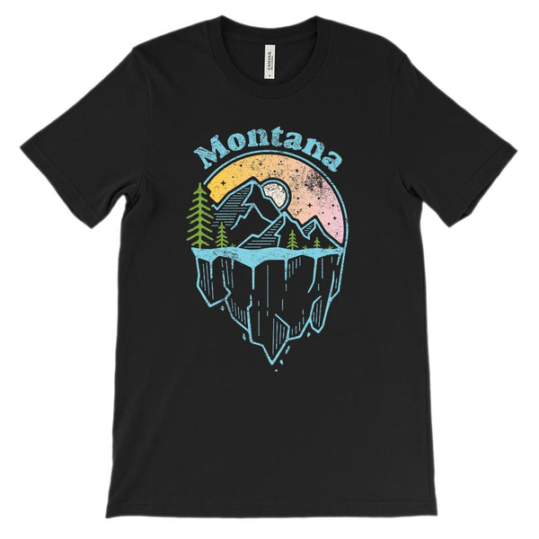 (Unisex BC 3001 Soft Tee) Iconic State Scenery Montana Scenic Graphic T-Shirt Tee BOXELS