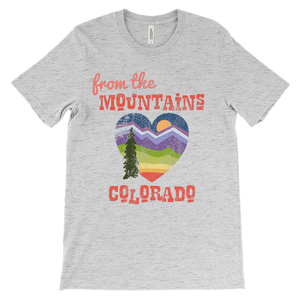 (Unisex BC 3001 Soft Tee) Iconic State Scenery - Mountains of Colorado CO Graphic T-Shirt Tee BOXELS