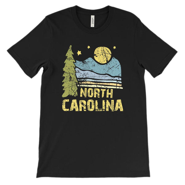 (Unisex BC 3001 Soft Tee) Iconic State Scenery North Carolina Scenery Graphic T-Shirt Tee BOXELS