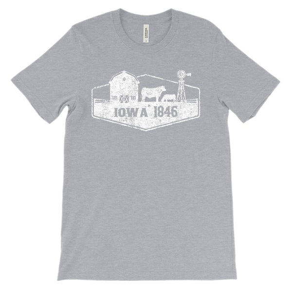 (Unisex BC 3001 Soft Tee) Iowa 1846 Scenic (white) Graphic T-Shirt Tee BOXELS