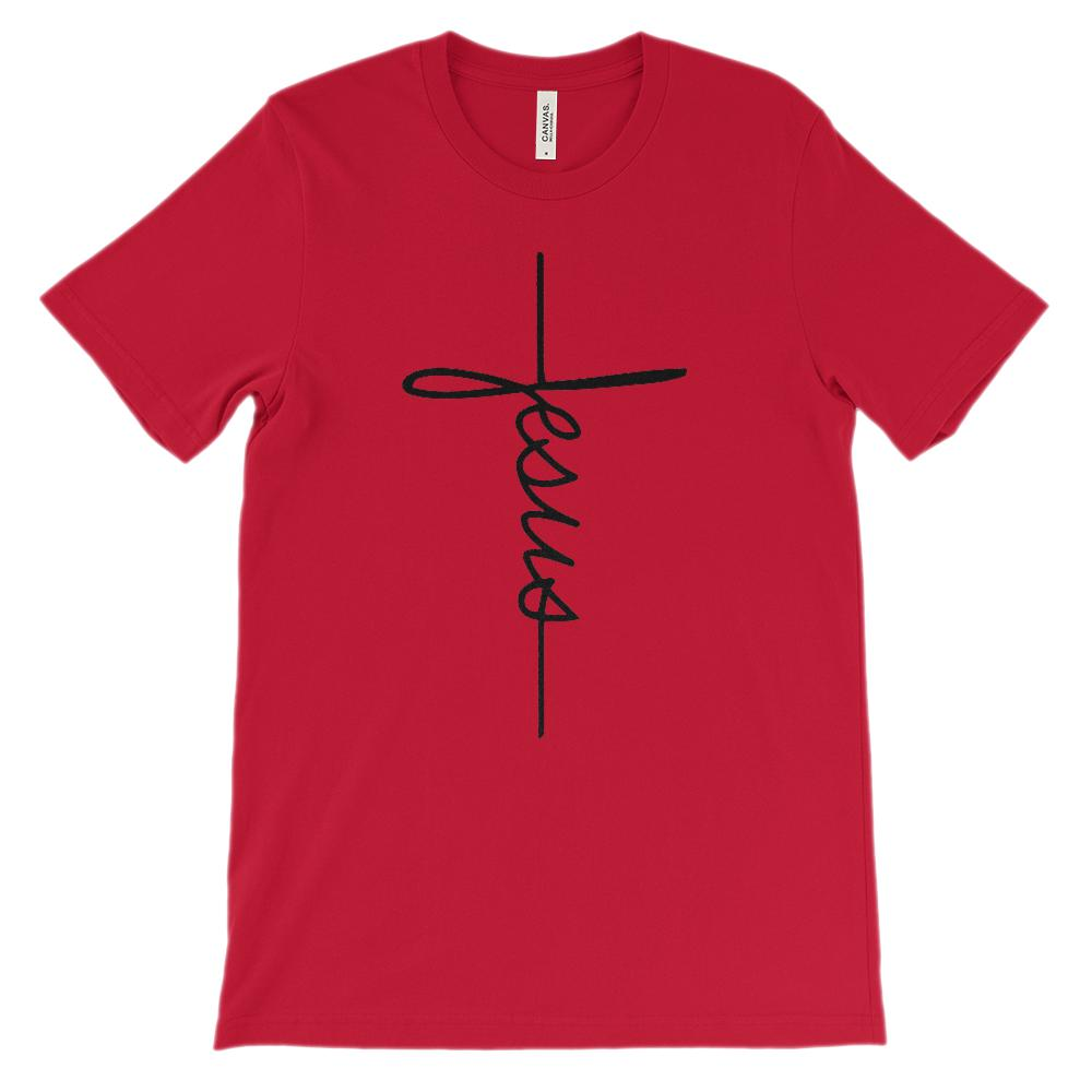 (Unisex BC 3001 Soft Tee) Jesus Cross Faith Tee Graphic T-Shirt Tee BOXELS