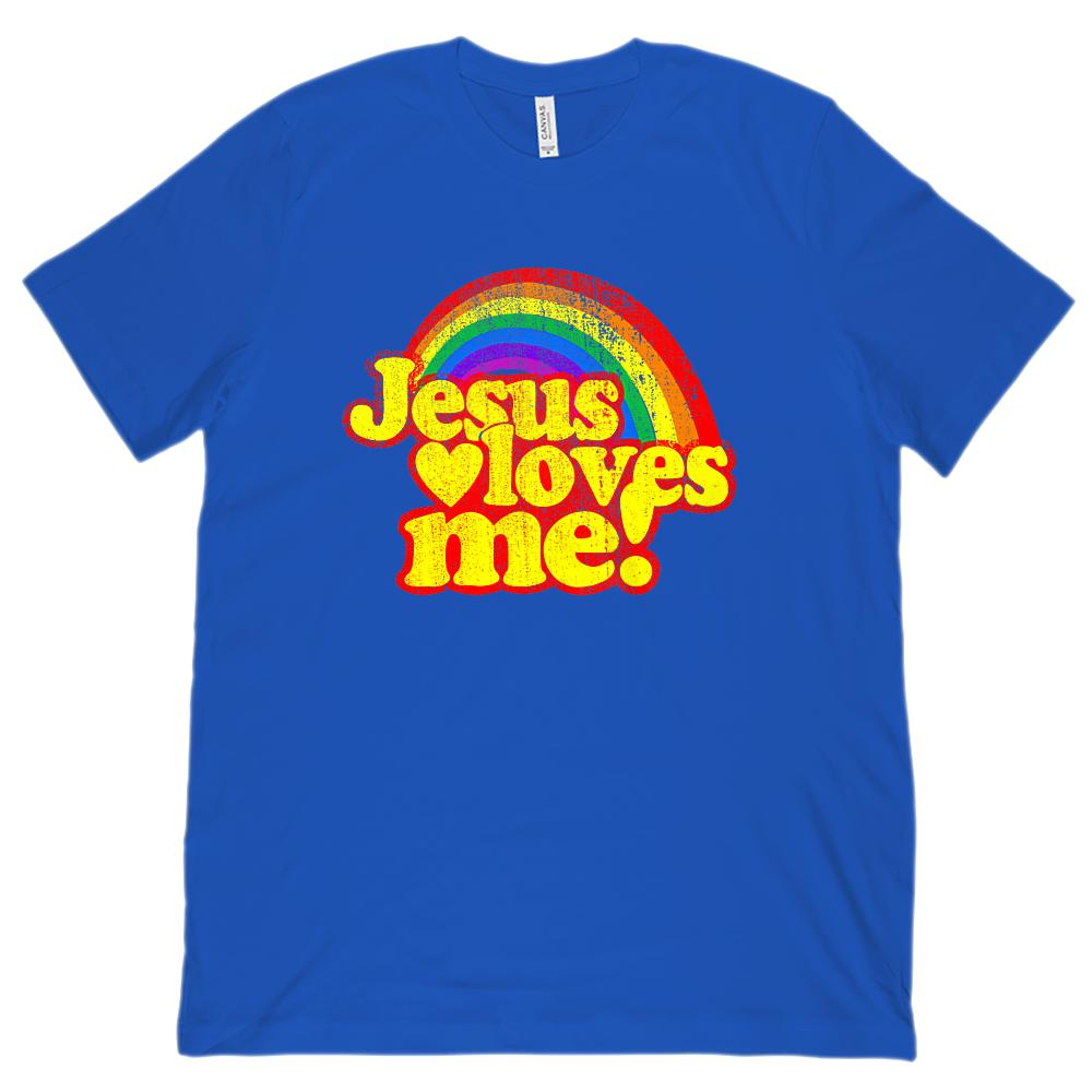 (unisex BC 3001 Soft Tee) Jesus Loves Me Rainbow Retro Bright Graphic T-Shirt Tee BOXELS