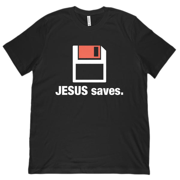 (Unisex BC 3001 Soft Tee) Jesus Saves. Floppy Disk Parody. Christian Graphic T-Shirt Tee BOXELS
