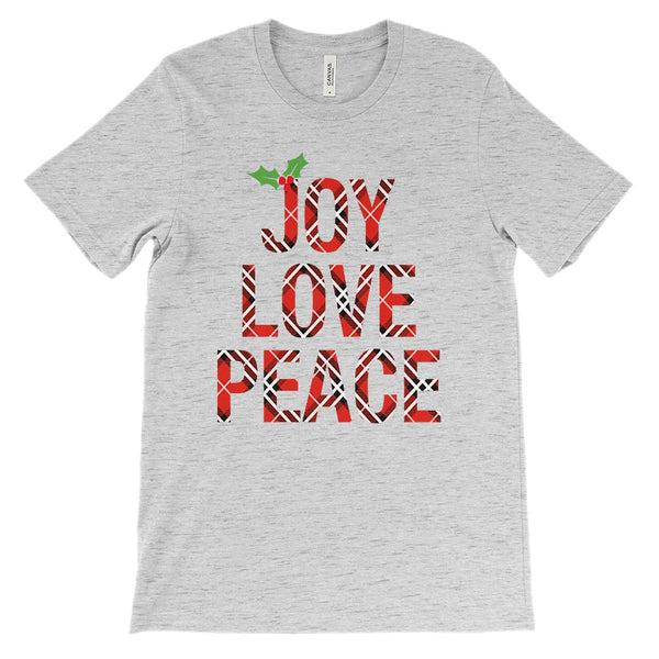 (Unisex BC 3001 Soft Tee) Joy Love Peace Holly Berry Plaid Christmas Graphic T-Shirt Tee BOXELS