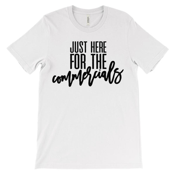 (Unisex BC 3001 Soft Tee) Just Here for the Commercials (black) Graphic T-Shirt Tee BOXELS