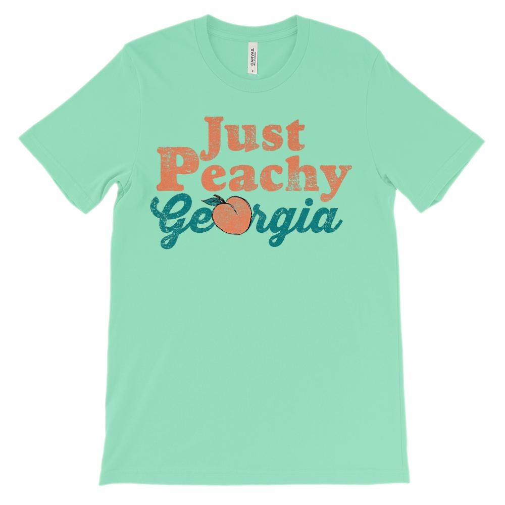 (Unisex BC 3001 Soft Tee) Just Peachy Georgia on Lights Graphic T-Shirt Tee BOXELS