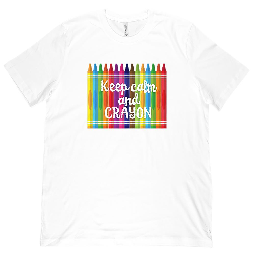 (Unisex BC 3001 Soft Tee) Keep Calm and Crayon Graphic Teacher Graphic T-Shirt Tee BOXELS